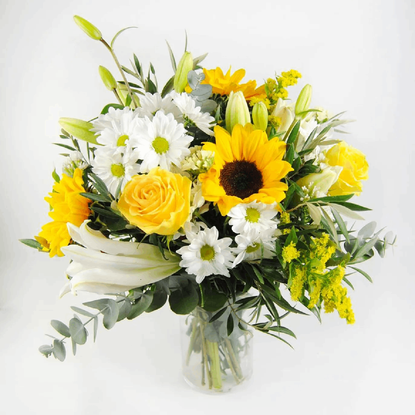 ramo flores con girasoles rosas amarillas margaritas -