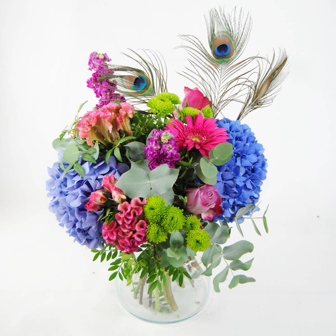enviar ramo de flores a domicilio hortensias azules, celosia, flores de rosa pitimini, aleli, flores de baloon verde, gerbera fucsia, rosa lilia, plumas de pavo real - originalflor
