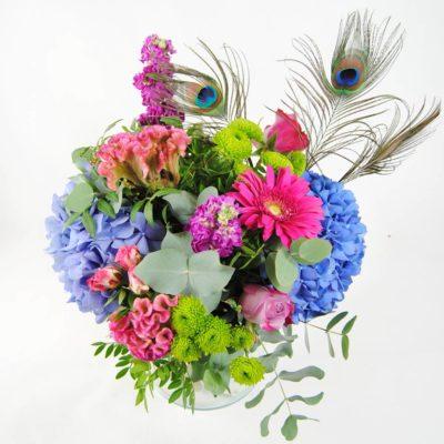 Flores Para Regalar A Domicilio Hortensias Azules, Celosia, Flores De Rosa Pitimini, Aleli, Flores De Baloon Verde, Gerbera Fucsia, Rosa Lilia, Plumas De Pavo Real - Originalflor